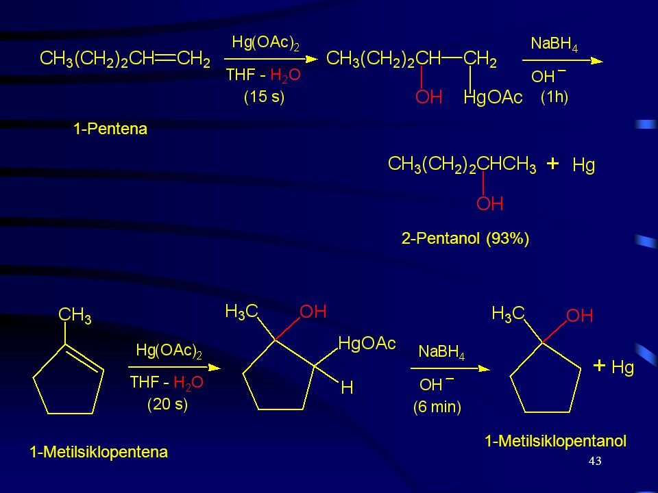 1-Pentena 2-Pentanol (93%) 1-Metilsiklopentanol 1-Metilsiklopentena