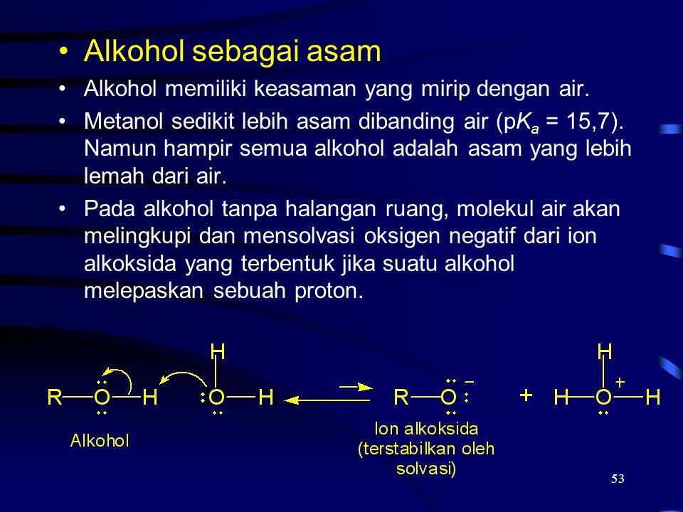 Alkohol sebagai asam Alkohol memiliki keasaman yang mirip dengan air.