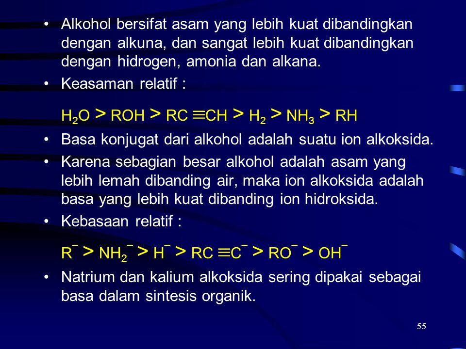 Alkohol bersifat asam yang lebih kuat dibandingkan dengan alkuna, dan sangat lebih kuat dibandingkan dengan hidrogen, amonia dan alkana.