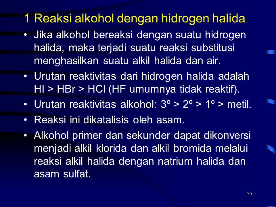 Reaksi alkohol dengan hidrogen halida