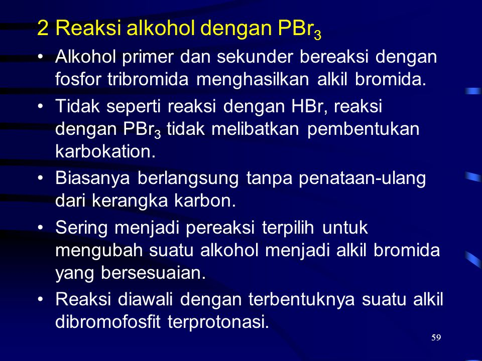 Reaksi alkohol dengan PBr3