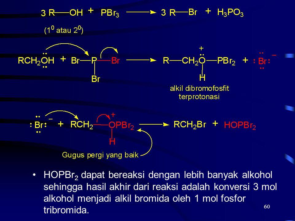 HOPBr2 dapat bereaksi dengan lebih banyak alkohol sehingga hasil akhir dari reaksi adalah konversi 3 mol alkohol menjadi alkil bromida oleh 1 mol fosfor tribromida.
