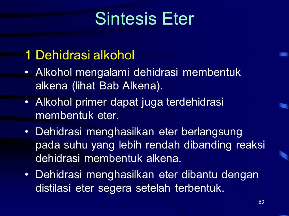 Sintesis Eter Dehidrasi alkohol
