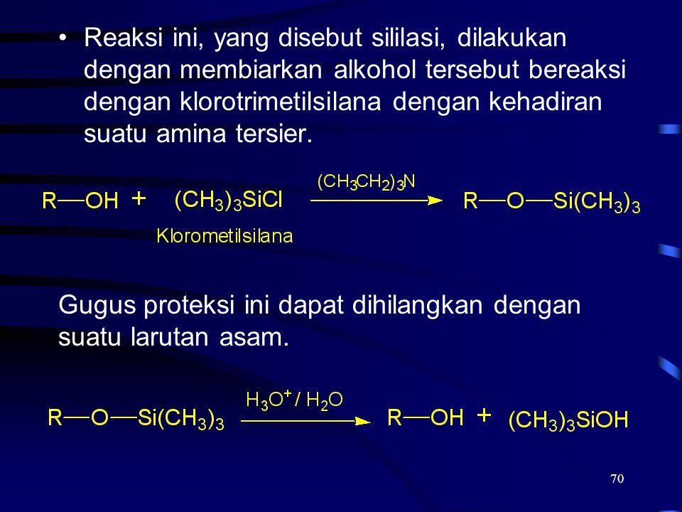 Reaksi ini, yang disebut sililasi, dilakukan dengan membiarkan alkohol tersebut bereaksi dengan klorotrimetilsilana dengan kehadiran suatu amina tersier.