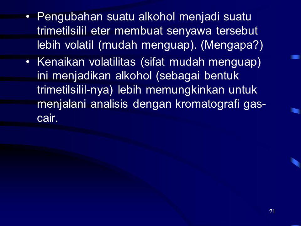 Pengubahan suatu alkohol menjadi suatu trimetilsilil eter membuat senyawa tersebut lebih volatil (mudah menguap). (Mengapa )