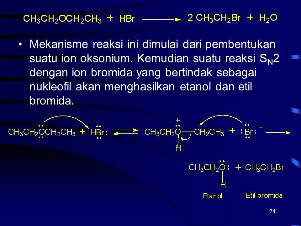 Mekanisme reaksi ini dimulai dari pembentukan suatu ion oksonium