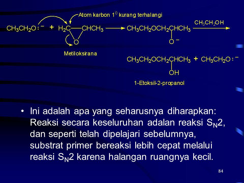 Ini adalah apa yang seharusnya diharapkan: Reaksi secara keseluruhan adalan reaksi SN2, dan seperti telah dipelajari sebelumnya, substrat primer bereaksi lebih cepat melalui reaksi SN2 karena halangan ruangnya kecil.