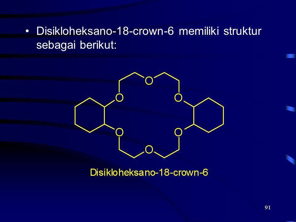 Disikloheksano-18-crown-6 memiliki struktur sebagai berikut: