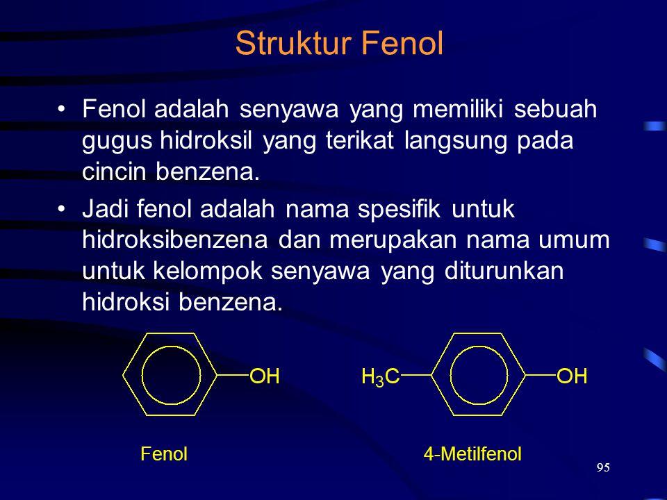 Struktur Fenol Fenol adalah senyawa yang memiliki sebuah gugus hidroksil yang terikat langsung pada cincin benzena.