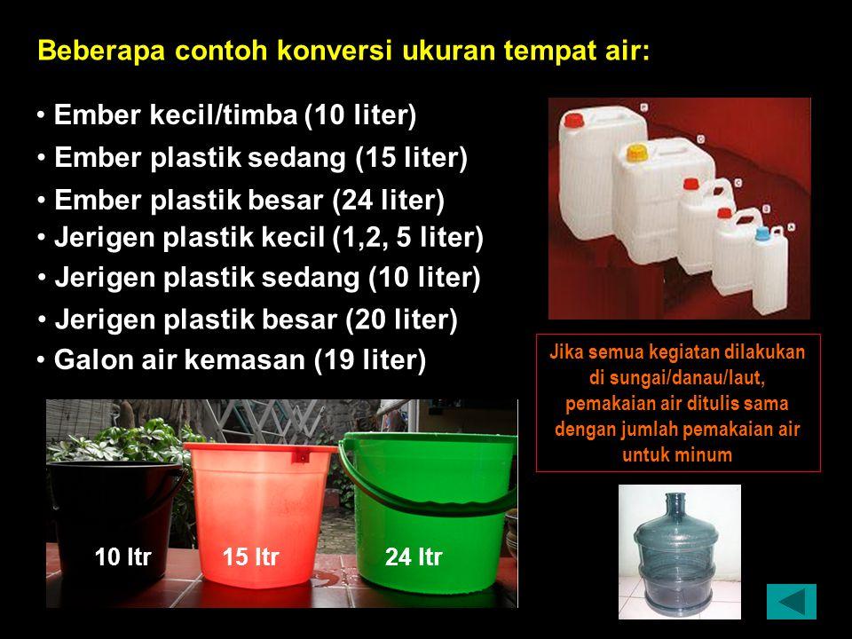 Beberapa contoh konversi ukuran tempat air: