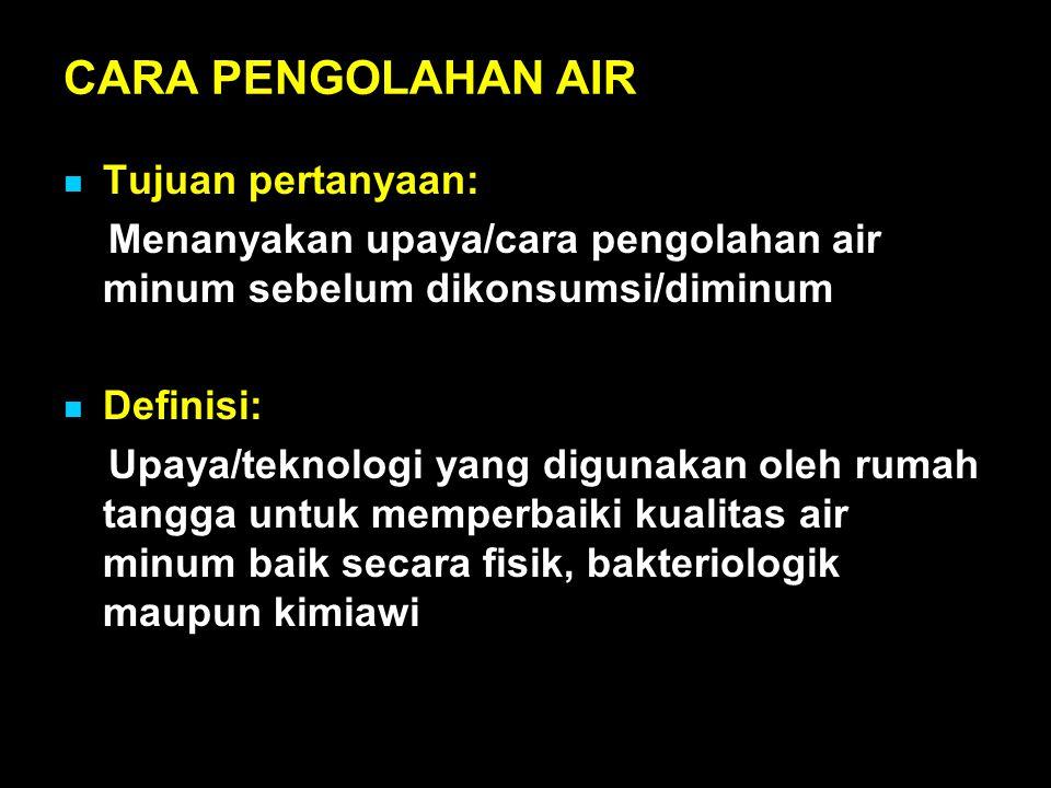 CARA PENGOLAHAN AIR Tujuan pertanyaan: