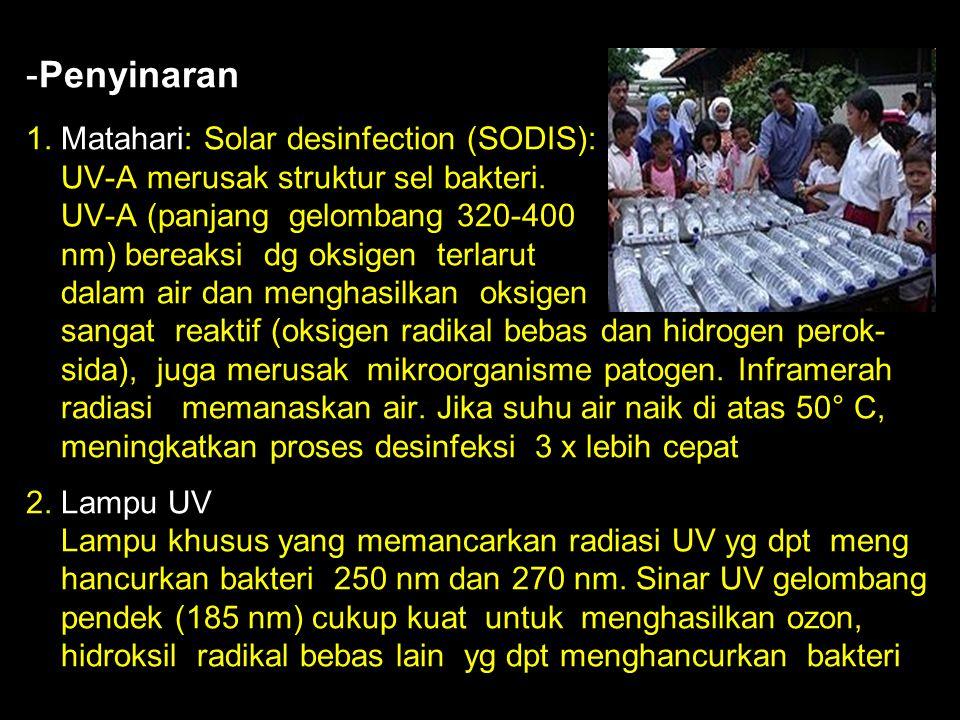 Penyinaran 1. Matahari: Solar desinfection (SODIS): UV-A merusak struktur sel bakteri.