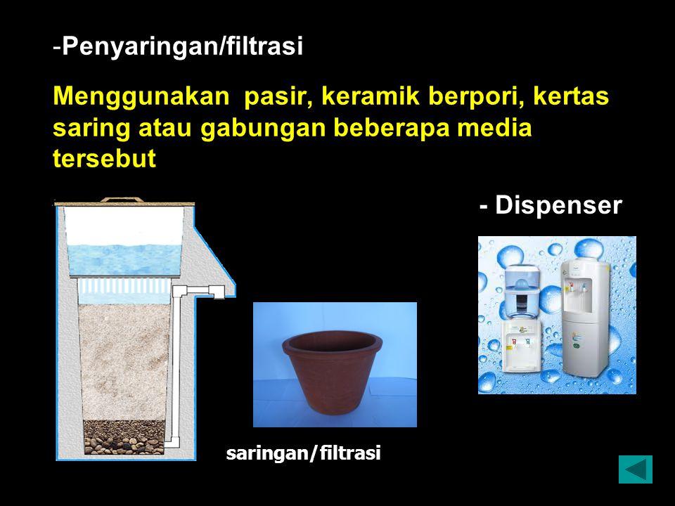 Penyaringan/filtrasi Menggunakan pasir, keramik berpori, kertas saring atau gabungan beberapa media tersebut