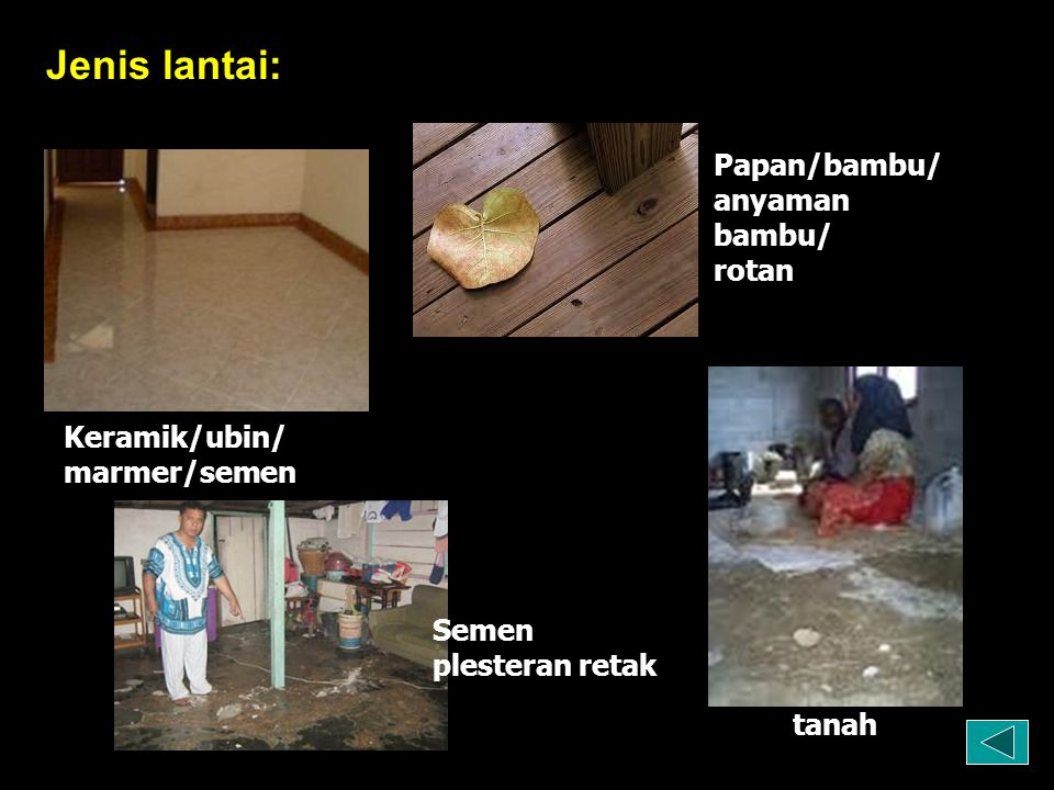 Jenis lantai: Papan/bambu/ anyaman bambu/ rotan