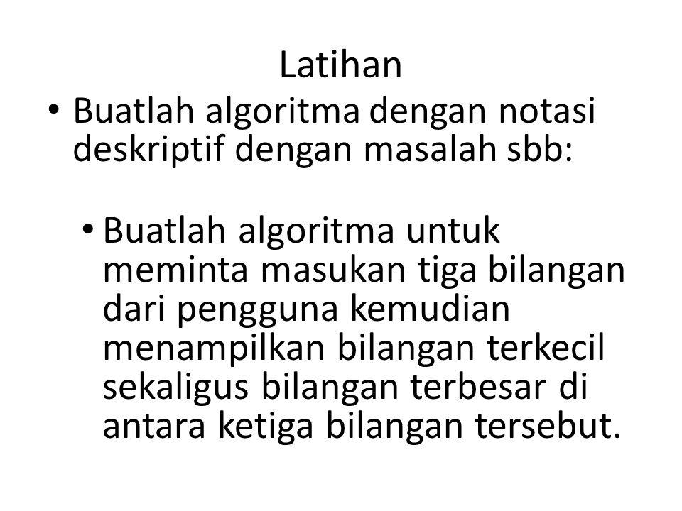 Latihan Buatlah algoritma dengan notasi deskriptif dengan masalah sbb: