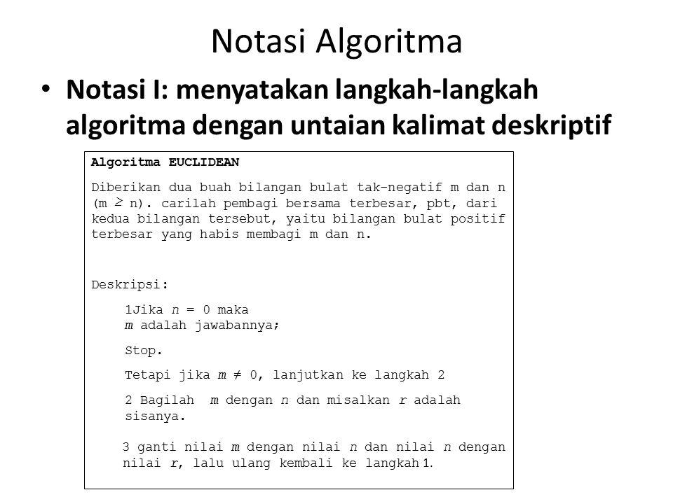 Notasi Algoritma Notasi I: menyatakan langkah-langkah algoritma dengan untaian kalimat deskriptif. Algoritma EUCLIDEAN.