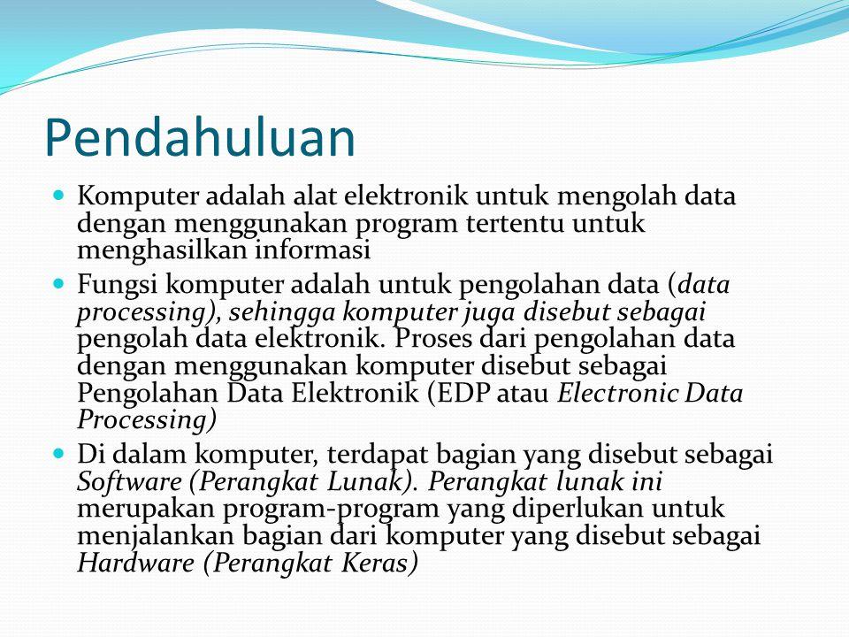 Pendahuluan Komputer adalah alat elektronik untuk mengolah data dengan menggunakan program tertentu untuk menghasilkan informasi.
