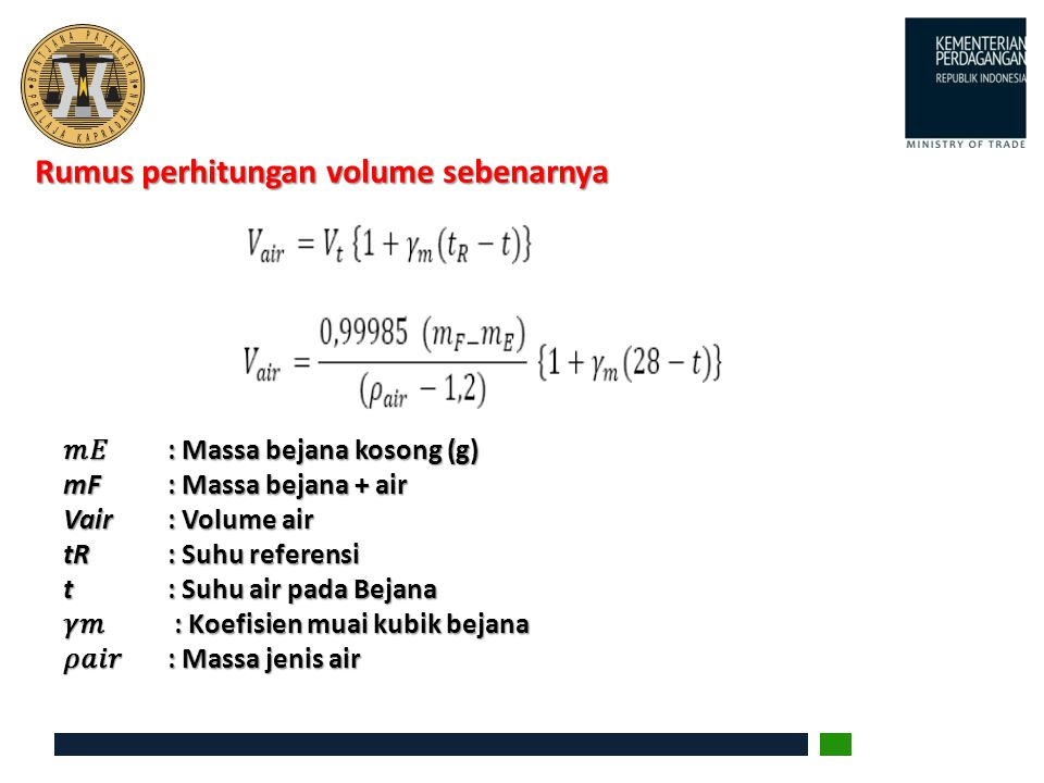 Rumus perhitungan volume sebenarnya
