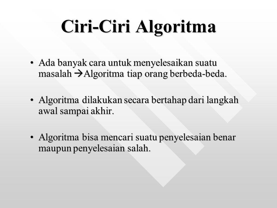 Ciri-Ciri Algoritma Ada banyak cara untuk menyelesaikan suatu masalah Algoritma tiap orang berbeda-beda.