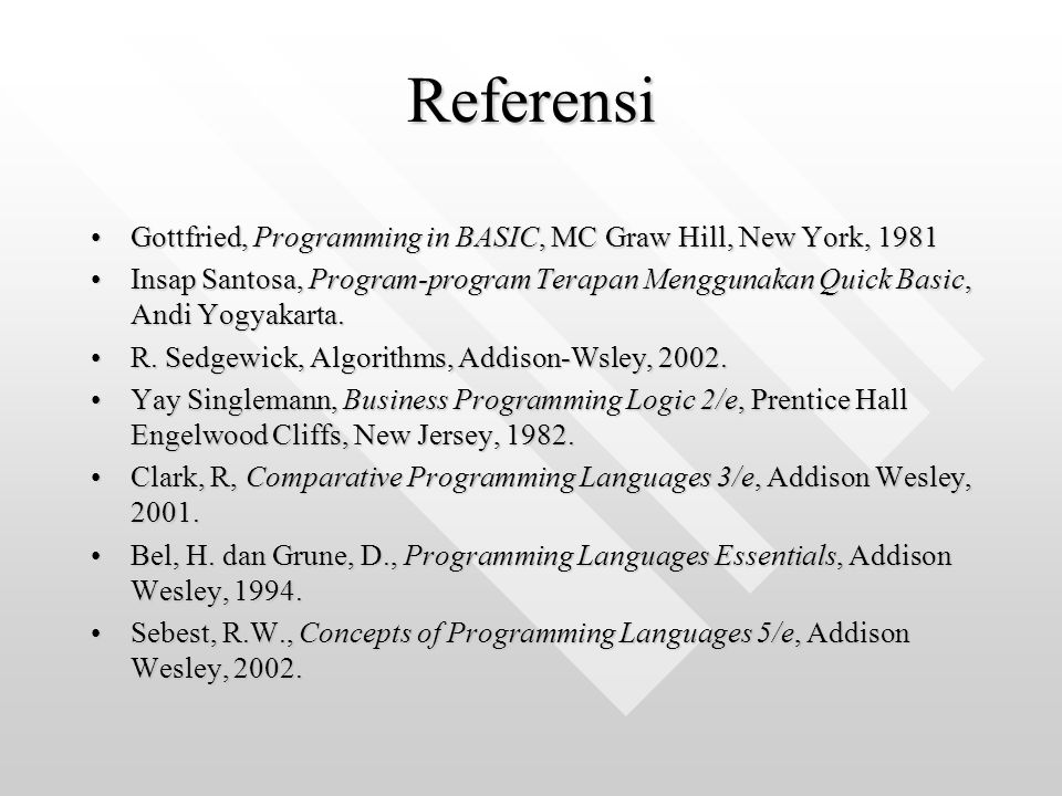 Referensi Gottfried, Programming in BASIC, MC Graw Hill, New York, 1981.