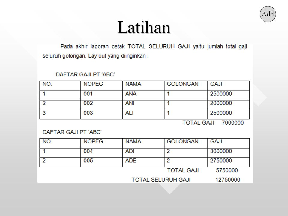 Latihan Add