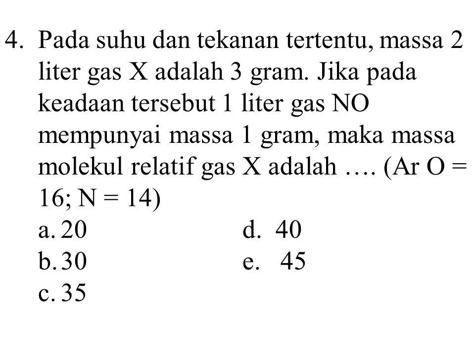 4. Pada suhu dan tekanan tertentu, massa 2 liter gas X adalah 3 gram