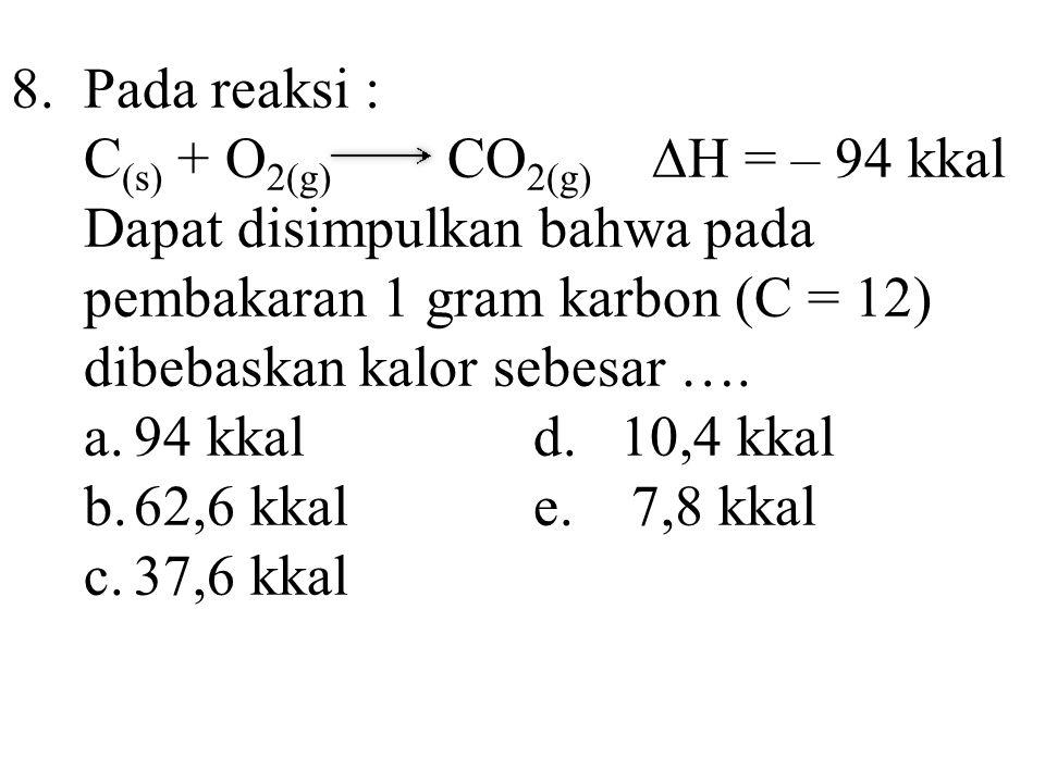 8. Pada reaksi : C(s) + O2(g) CO2(g) ∆H = – 94 kkal.