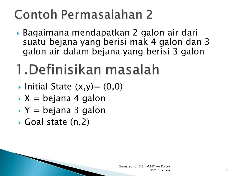 1.Definisikan masalah Contoh Permasalahan 2