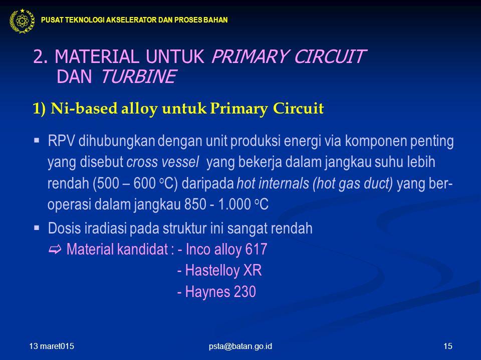 2. MATERIAL UNTUK PRIMARY CIRCUIT DAN TURBINE