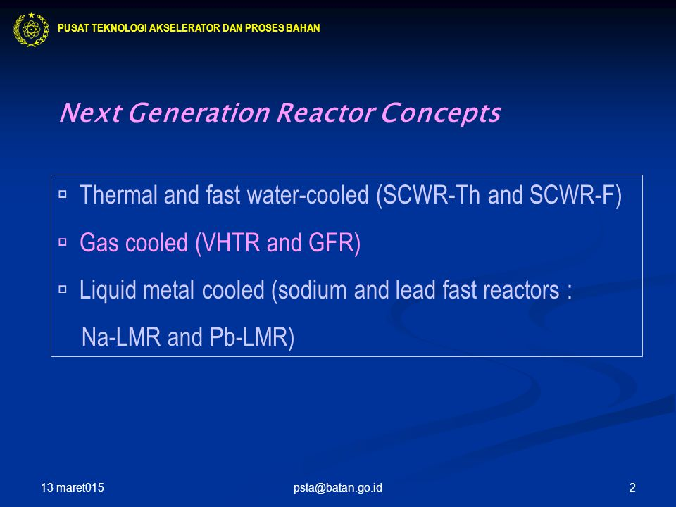 Next Generation Reactor Concepts