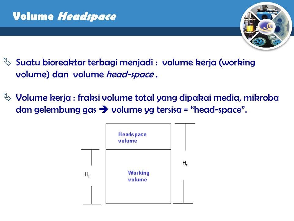 Volume Headspace Suatu bioreaktor terbagi menjadi : volume kerja (working volume) dan volume head-space .