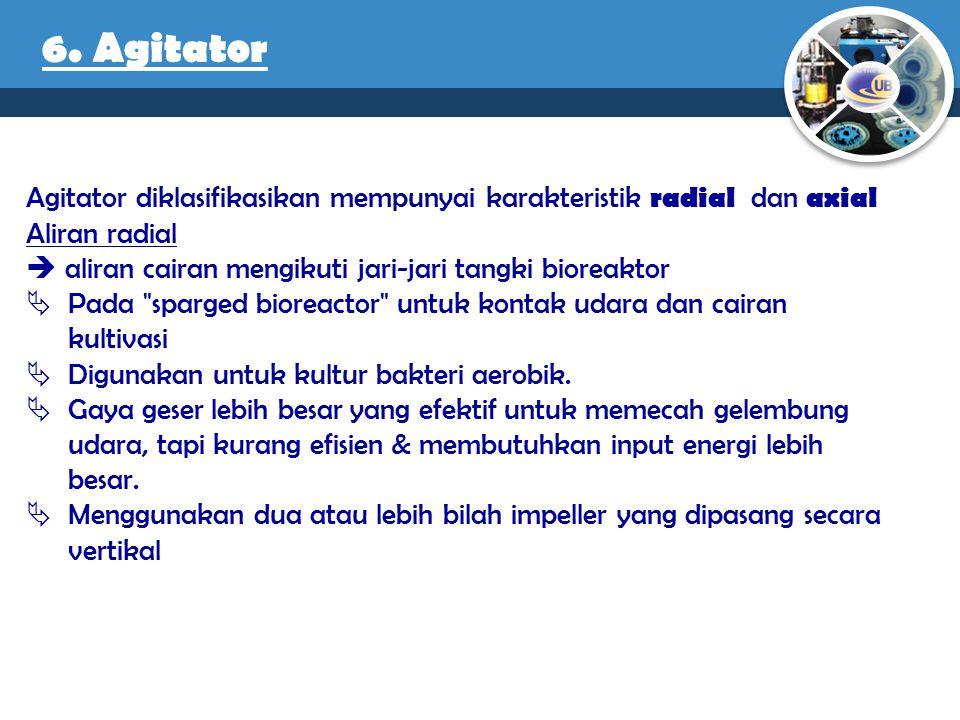 6. Agitator Agitator diklasifikasikan mempunyai karakteristik radial dan axial. Aliran radial.
