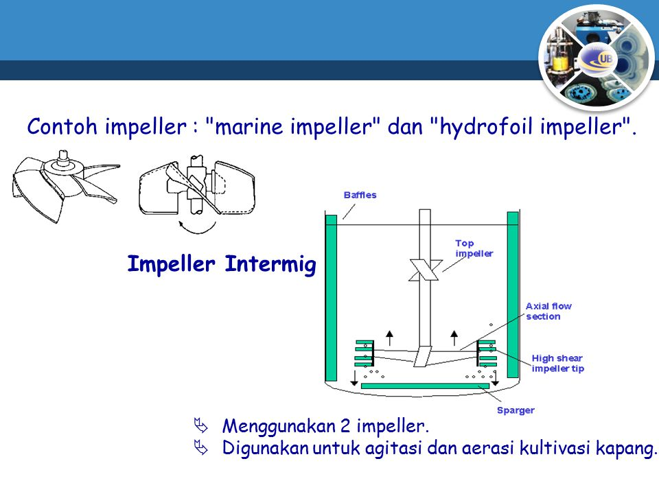 Contoh impeller : marine impeller dan hydrofoil impeller .