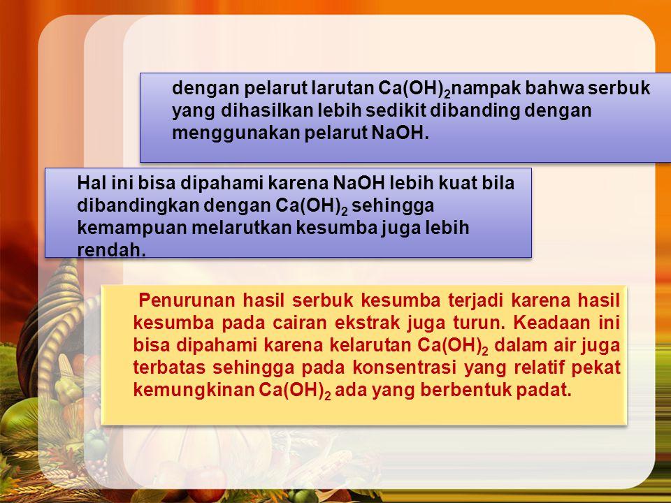 dengan pelarut larutan Ca(OH)2nampak bahwa serbuk yang dihasilkan lebih sedikit dibanding dengan menggunakan pelarut NaOH.