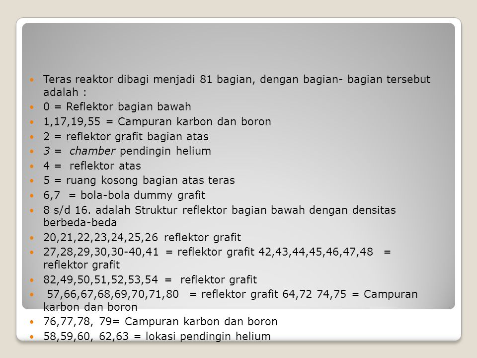 Teras reaktor dibagi menjadi 81 bagian, dengan bagian- bagian tersebut adalah :