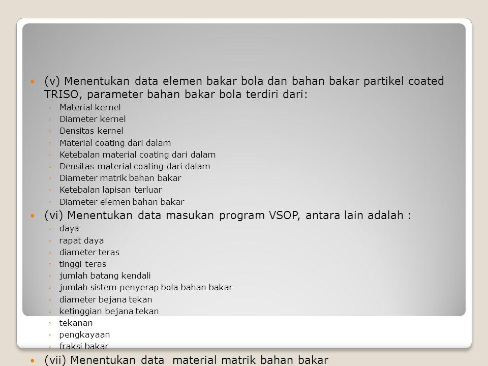 (vi) Menentukan data masukan program VSOP, antara lain adalah :