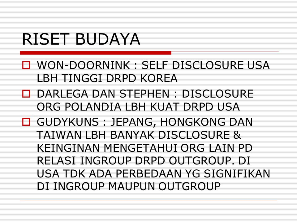 RISET BUDAYA WON-DOORNINK : SELF DISCLOSURE USA LBH TINGGI DRPD KOREA