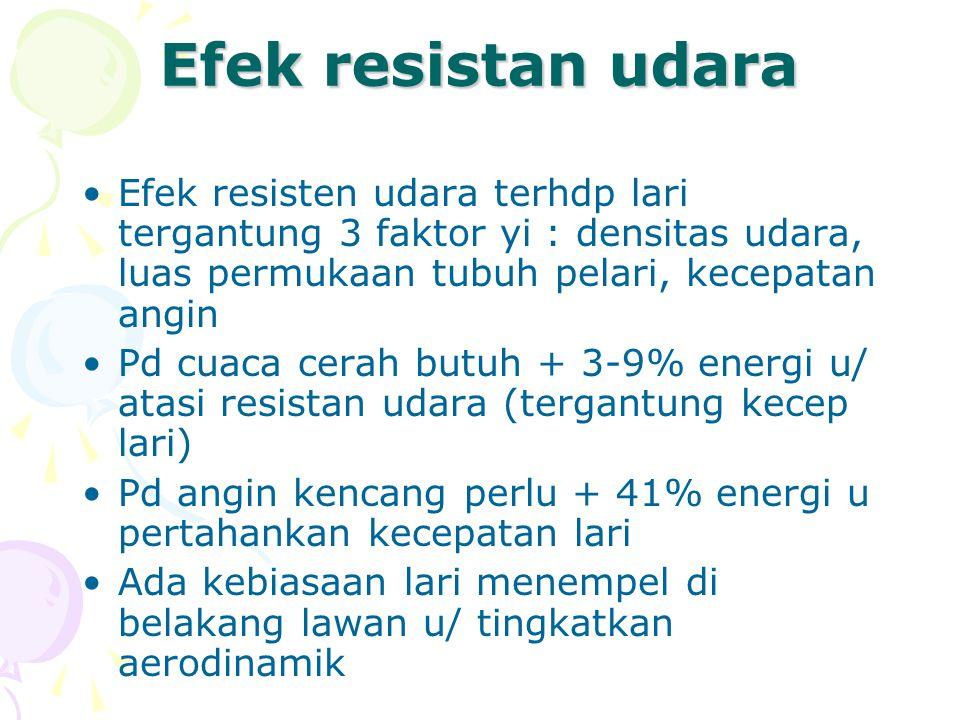 Efek resistan udara Efek resisten udara terhdp lari tergantung 3 faktor yi : densitas udara, luas permukaan tubuh pelari, kecepatan angin.