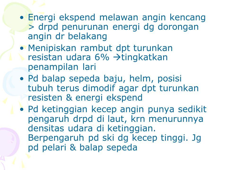 Energi ekspend melawan angin kencang > drpd penurunan energi dg dorongan angin dr belakang