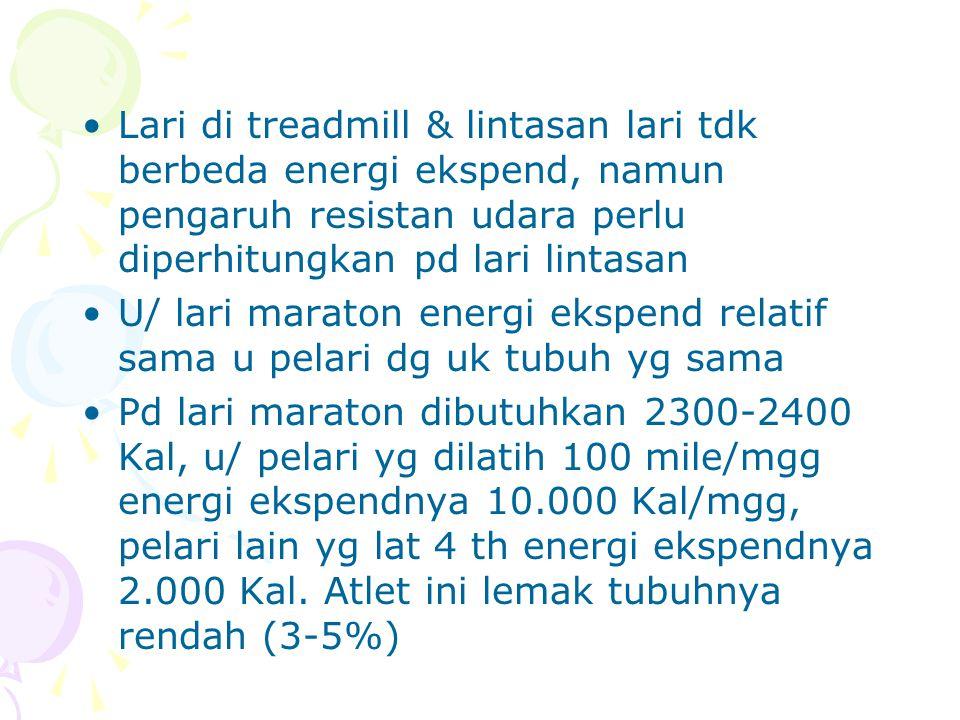 Lari di treadmill & lintasan lari tdk berbeda energi ekspend, namun pengaruh resistan udara perlu diperhitungkan pd lari lintasan