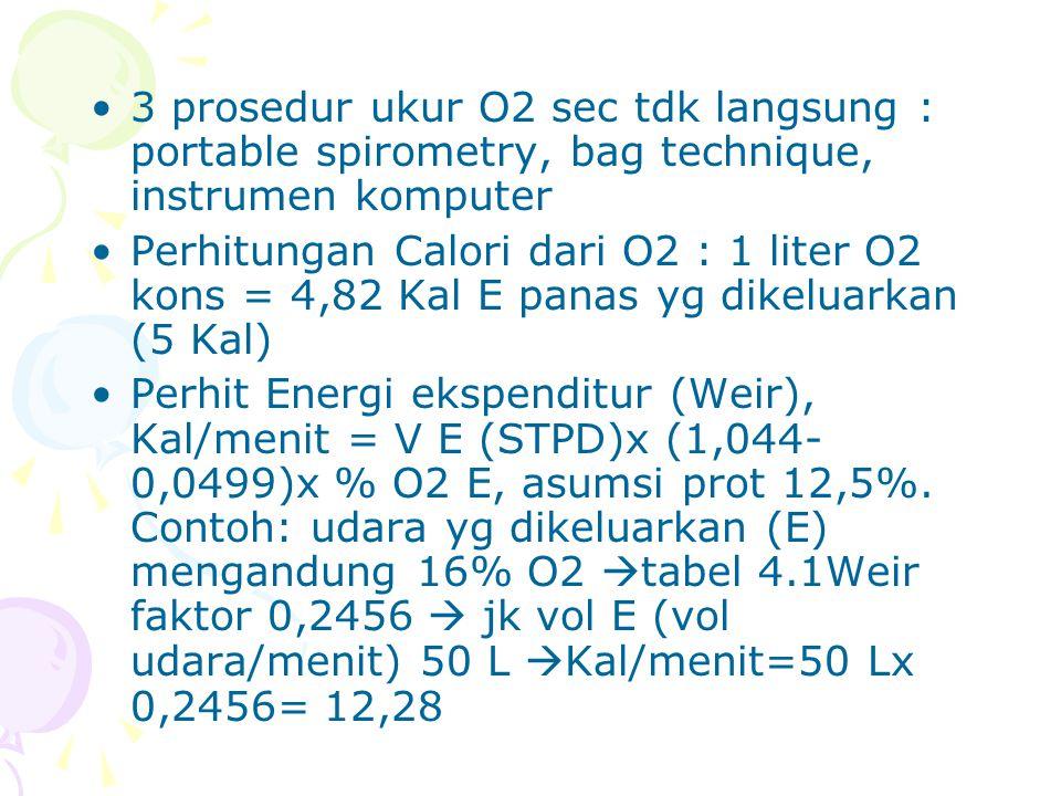 3 prosedur ukur O2 sec tdk langsung : portable spirometry, bag technique, instrumen komputer