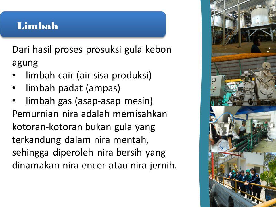 Limbah Dari hasil proses prosuksi gula kebon agung. limbah cair (air sisa produksi) limbah padat (ampas)