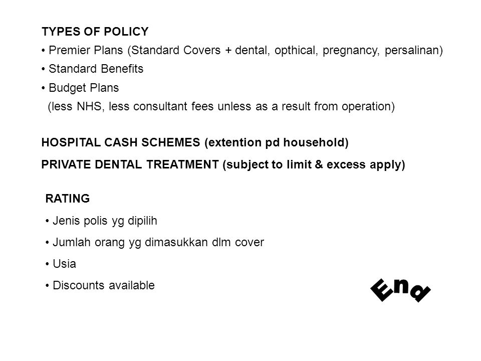 TYPES OF POLICY Premier Plans (Standard Covers + dental, opthical, pregnancy, persalinan) Standard Benefits.