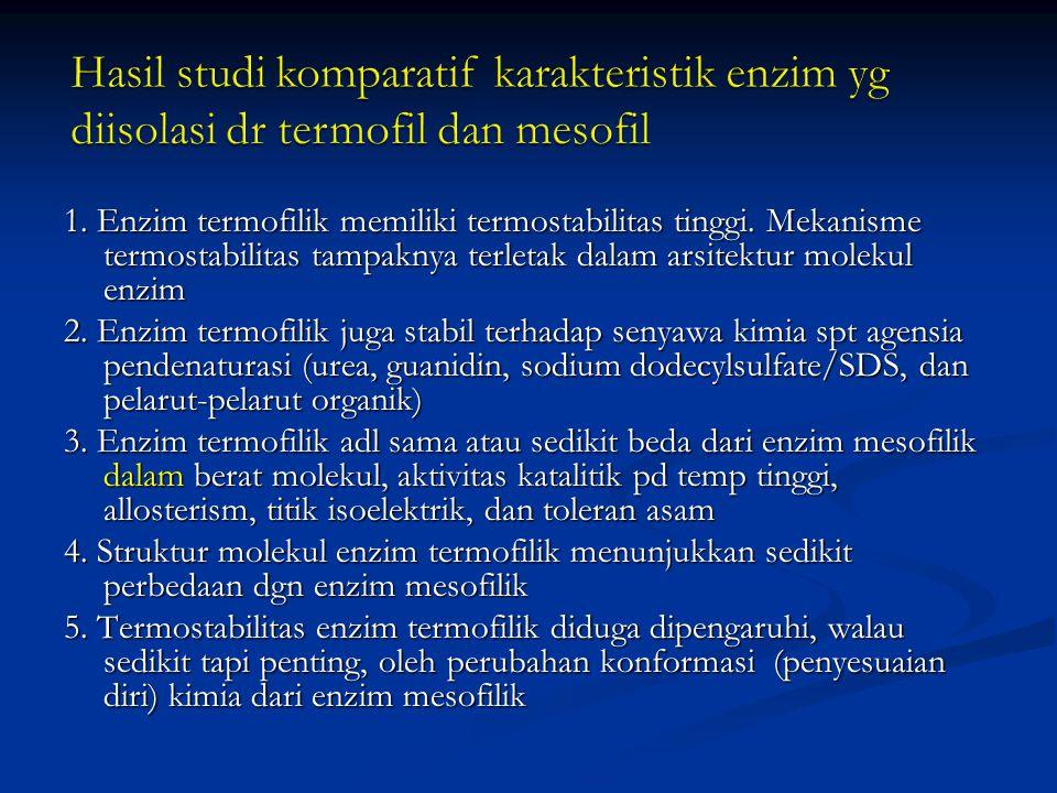 Hasil studi komparatif karakteristik enzim yg diisolasi dr termofil dan mesofil
