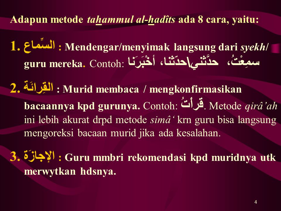 Adapun metode tahammul al-hadîts ada 8 cara, yaitu: