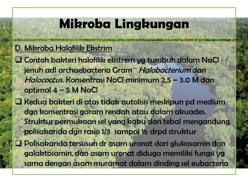 Mikroba Lingkungan D. Mikroba Halofilik Ekstrim