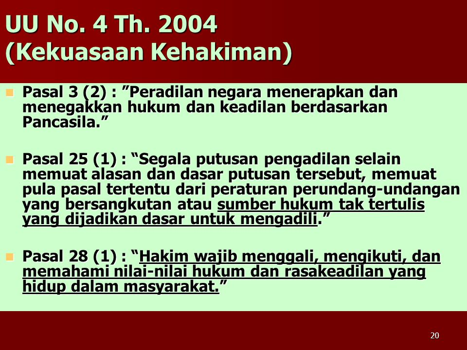 UU No. 4 Th. 2004 (Kekuasaan Kehakiman)