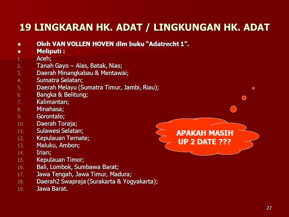 19 LINGKARAN HK. ADAT / LINGKUNGAN HK. ADAT
