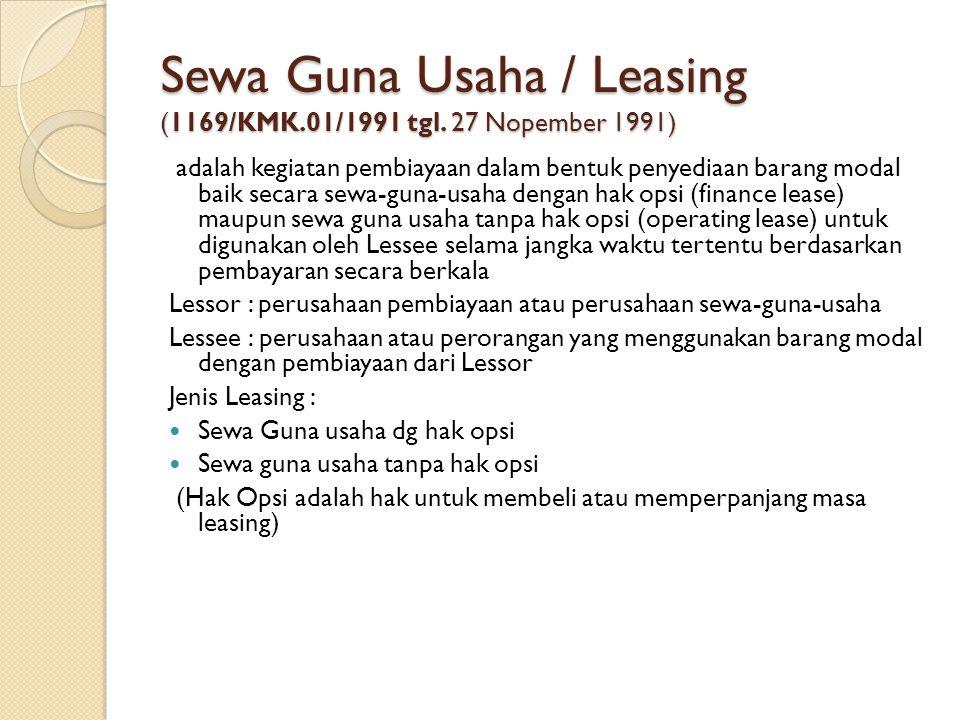 Sewa Guna Usaha / Leasing (1169/KMK.01/1991 tgl. 27 Nopember 1991)