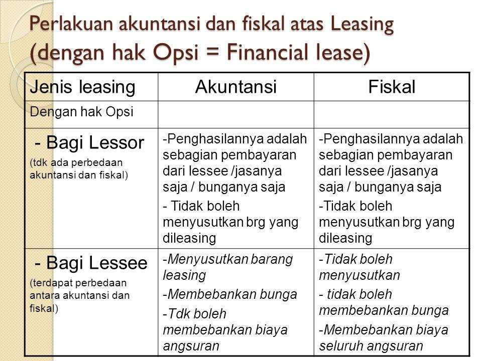 Perlakuan akuntansi dan fiskal atas Leasing (dengan hak Opsi = Financial lease)